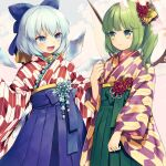 2girls alternate_costume bangs blue_bow blue_eyes blue_hair bow cirno closed_mouth commentary_request daiyousei eyebrows_visible_through_hair fairy_wings fang green_eyes green_hair hair_bow hair_ornament hakama ice ice_wings japanese_clothes kanzashi kimono long_sleeves looking_at_another medium_hair multiple_girls obi open_mouth sash short_hair side_ponytail sidelocks smile standing tomobe_kinuko touhou wide_sleeves wings