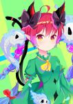 1girl absurdres animal_ears bangs black_bow bow breasts cat_ears cat_tail closed_mouth dress eyebrows_visible_through_hair ghost green_background green_dress green_sleeves hair_between_eyes hair_bow highres kaenbyou_rin long_hair long_sleeves looking_at_viewer multicolored multicolored_eyes red_bow red_eyes redhead shinrabanshou_(ehjs2237) small_breasts tail touhou yellow_eyes yellow_neckwear