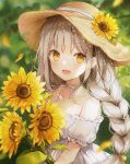 1girl :d bangs blurry blurry_background blush braid brown_hair brown_headwear choker collarbone commentary_request day depth_of_field dress eyebrows_visible_through_hair flower frilled_sleeves frills hair_ribbon hat hat_flower hat_ornament holding holding_flower long_hair looking_at_viewer off-shoulder_dress off_shoulder open_mouth original outdoors ribbon ribbon_choker short_sleeves smile solo straw_hat sunflower sunflower_petals sunlight twin_braids upper_body weri white_choker white_dress white_neckwear yellow_eyes yellow_flower yellow_ribbon