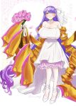 bare_shoulders bouquet breasts claws closed_eyes dress fate/grand_order fate_(series) flower gigantic_breasts hair_ribbon hamo8129 highres long_hair passionlip_(fate) pink_eyes purple_hair ribbon sleeveless sleeveless_dress smile standing strapless strapless_dress very_long_hair wedding_dress white_ribbon
