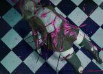 1girl bangs black_legwear blood bloody_clothes brown_jacket brown_skirt checkered checkered_floor commentary_request corpse danganronpa_(series) danganronpa_3_(anime) death dress_shirt hair_ornament hood hood_down hooded_jacket hope's_peak_academy_school_uniform impaled injury iumi_urura jacket kneehighs long_sleeves medium_hair nanami_chiaki neck_ribbon open_clothes open_jacket open_mouth pink_blood pleated_skirt polearm red_neckwear ribbon school_uniform shirt shoes skirt spear spoilers thigh-highs tile_floor tiles torn_clothes torn_legwear weapon white_shirt
