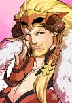 1boy beard blonde_hair blush cleavage_cutout clothing_cutout earrings facial_hair goatee granblue_fantasy horns jewelry ladiva large_pectorals long_hair looking_at_viewer male_cleavage male_focus mature_male muscular muscular_male mustache pectorals portrait ryuuki_garyuu smile solo transgender upper_body whispering wrestling_mask
