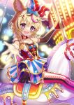 1girl animal_ear_fluff animal_ears armband bare_arms blonde_hair blurry blurry_background blush bokeh bow carousel chocomarybadend clothing_cutout club_(shape) commentary depth_of_field detached_sleeves diamond_(shape) dress facial_mark feet_out_of_frame fox_ears gloves hair_between_eyes hair_bow hair_ornament hat heart highres holding holding_pole hololive horse jester_cap layered_dress multicolored_hair navel navel_cutout neck_ribbon night omaru_polka outdoors outstretched_hand outstretched_leg petticoat pink_legwear pole red_gloves red_neckwear ribbon short_hair single_glove single_sleeve sitting skirt solo spade_(shape) star-shaped_pupils star_(symbol) streaked_hair striped striped_skirt symbol-shaped_pupils thigh-highs upper_teeth violet_eyes virtual_youtuber x_hair_ornament