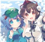 2girls :d blue_eyes blue_hair breasts brown_eyes brown_hair clouds cloudy_sky hair_bobbles hair_ornament hat highres kawashiro_nitori large_breasts multiple_girls nohoshio open_mouth outdoors pom_pom_(clothes) selfie shameimaru_aya short_hair sky smile star_(symbol) tokin_hat touhou two_side_up v