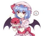 1girl :3 animal bat_wings blue_hair brooch commission eyebrows_visible_through_hair fang fangs hat hat_ribbon highres holding holding_animal jewelry looking_at_viewer mob_cap octopus open_mouth pink_headwear pink_shirt pink_skirt red_eyes red_ribbon remilia_scarlet ribbon shirt short_hair short_sleeves simple_background skeb_commission skirt spoken_sweatdrop subaru_(subachoco) sweatdrop touhou upper_body white_background wings wrist_cuffs