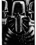 armor army black_background cable dark david_gallagher expressionless greyscale mechanical_parts monochrome necron no_humans robot science_fiction skeleton skull warhammer_40k