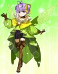 1girl antenna_hair black_shorts boots bow brown_footwear brown_gloves closed_mouth dress eyebrows_visible_through_hair fairy_wings fate/extra fate/extra_ccc fate/extra_ccc_fox_tail fate/grand_order fate_(series) full_body gloves green_background green_dress green_wings hair_bow highres kazuradrop_(fate) light_particles looking_at_viewer official_art pom_pom_(clothes) purple_hair short_hair short_twintails shorts smile solo standing thigh-highs thigh_boots twintails very_short_hair violet_eyes wada_arco wings yellow_bow