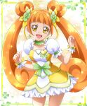 1girl :d bangs breasts brown_hair choker clover_earrings clover_hair_ornament collarbone cowboy_shot cure_rosetta dokidoki!_precure dress floating_hair green_choker hair_ornament hanzou highres layered_dress long_hair looking_at_viewer medium_breasts open_mouth precure shiny shiny_hair short_dress short_sleeves smile solo standing twintails two-tone_dress very_long_hair white_dress yellow_dress yellow_eyes
