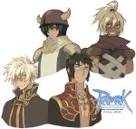 4boys ahoge armor assassin_(ragnarok_online) bags_under_eyes bandages bangs black_coat black_hair blue_eyes brown_capelet capelet chainmail closed_mouth coat commentary copyright_name cropped_torso cross cross_necklace dark-skinned_male dark_skin dated_commentary english_commentary eyebrows_visible_through_hair grandyoukan green_eyes green_hair grin hair_between_eyes hair_over_one_eye helmet high_ponytail horned_helmet jewelry knight_(ragnarok_online) logo looking_at_viewer male_focus medium_hair multiple_boys necklace open_clothes open_coat pauldrons pince-nez priest_(ragnarok_online) purple_shirt ragnarok_online red_coat red_eyes red_scarf red_shirt scarf shirt short_hair shoulder_armor simple_background sleeveless sleeveless_shirt smile tabard two-tone_coat upper_body white_background white_hair wizard_(ragnarok_online) yellow_eyes