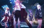 4girls aru_(blue_archive) backpack bag barrel black_hair blue_archive dress fur_trim gloves gun hair_ornament halo hand_up hands_in_pocket haruka_(blue_archive) hat holding holding_gun holding_weapon hood hoodie indoors jacket jacket_on_shoulders jewelry kayoko_(blue_archive) long_hair multicolored_hair multiple_girls mutsuki_(blue_archive) necklace over_shoulder pink_hair pipes ponytail purple_hair red_dress standing streaked_hair thigh_strap twintails two-tone_hair unjem very_long_hair violet_eyes warehouse weapon white_gloves white_hair yellow_eyes