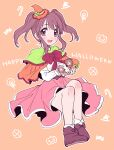 1girl :d amezawa_koma blush bow bowtie brown_eyes brown_footwear brown_hair capelet character_request chibi happy_halloween hat highres holding idolmaster idolmaster_cinderella_girls legs_together looking_at_viewer mini_hat ogata_chieri open_mouth orange_background orange_headwear pink_skirt red_bow red_neckwear shoes skirt smile twintails witch_hat
