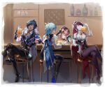 1boy 3girls alcohol animal_ears black_hair breasts cabbie_hat cape cat_ears closed_eyes crossed_legs cup diona_(genshin_impact) drink drinking drinking_glass eula_lawrence eyepatch fishnet_legwear fishnets genshin_impact grape_(pixiv27523889) green_eyes half-closed_eyes hat highres kaeya_alberich long_hair multiple_girls open_mouth pants petting pink_hair pouring purple_hair rosaria_(genshin_impact) side_ponytail sitting smile stool thigh-highs veil