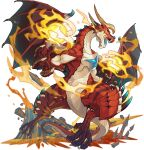 animal_focus artist_request black_sclera castle claws colored_sclera dragon eruption fire full_body hands_up highres horns looking_at_viewer molten_rock muscular no_humans non-web_source official_art open_mouth orange_eyes orb outdoors red_theme rubble sharp_teeth solo spiked_tail tail teeth transparent_background volcano wagner_(world_flipper) wings world_flipper