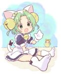 2girls :d animal_ears animal_hat apron bangs bell blue_bow blue_dress blush boots bow brown_hair cat_ears cat_hat cat_tail collared_dress dejiko di_gi_charat dress eyebrows_visible_through_hair fake_animal_ears fang gema gloves green_eyes green_hair hair_bell hair_ornament hand_up hat heart jigatei_(omijin) jingle_bell knee_boots looking_at_viewer maid_apron multiple_girls open_mouth parted_bangs puchiko puffy_short_sleeves puffy_sleeves shoe_soles short_sleeves sitting smile solo_focus tail tail_bow tail_ornament translation_request white_apron white_footwear white_gloves white_headwear