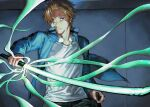 1boy black_pants blue_eyes blue_jacket brown_hair closed_mouth expressionless glasses glowing glowing_weapon hair_over_one_eye hand_up high_collar highres holding holding_weapon incoming_attack indoors jacket jin_yuuichi long_sleeves looking_at_viewer male_focus motion_blur oki_xfourty pants shirt short_hair solo standing sword tinted_eyewear uniform unsheathed weapon white_shirt world_trigger