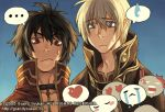 ... 2boys bangs blonde_hair blue_background blue_eyes blush_stickers brown_capelet brown_eyes brown_hair cape capelet closed_mouth coat commentary cross cross_necklace emoticon english_commentary grandyoukan hair_between_eyes heart heart-shaped_pupils heart_eyes jewelry looking_down lowres male_focus multiple_boys necklace open_clothes open_coat priest_(ragnarok_online) ragnarok_online red_coat red_shirt shirt short_hair simple_background sweatdrop symbol-shaped_pupils t_t upper_body watermark web_address white_cape wizard_(ragnarok_online)