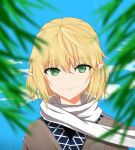 1girl bangs black_shirt blonde_hair blurry blurry_foreground brown_jacket closed_mouth commentary_request eyebrows_visible_through_hair green_eyes hair_between_eyes highres jacket looking_at_viewer mizuhashi_parsee plant pointy_ears ronia scarf shirt short_hair smile solo touhou upper_body white_scarf