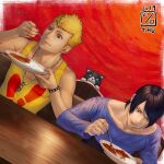 2019 2boys bangs black_hair blonde_hair border cat curry curry_rice dutch_angle eating food highres holding holding_spoon ikeda_(cpt) kitagawa_yuusuke male_focus morgana_(persona_5) multiple_boys persona persona_5 red_background rice sakamoto_ryuuji shiny shiny_hair short_hair spoon swept_bangs white_border