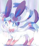 blue_eyes blush commentary gen_6_pokemon highres looking_at_viewer no_humans paws pokemon pokemon_(creature) signature solo standing surumeika_(ninfiiiir) sylveon toes water_drop wet