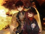 1boy 1girl absurdres ahoge autumn bangs bead_necklace beads black_gloves black_hair black_shorts blurry blurry_background brooch brown_hair cape chinese_clothes closed_eyes clouds cloudy_sky coat coin_hair_ornament collared_shirt colored_tips diamond-shaped_pupils diamond_(shape) doll earrings eyeliner eyeshadow falling_leaves flower formal genshin_impact gloves glowing gradient_hair grass hair_between_eyes hand_on_own_thigh hand_up hat highres hu_tao_(genshin_impact) huge_filesize jacket jewelry leaf long_hair long_sleeves looking_at_viewer makeup mandarin_collar multicolored_hair nature necklace necktie open_mouth orange_hair outdoors ponytail purple_hair purple_headwear qing_guanmao qiqi_(genshin_impact) red_eyeshadow red_shirt ring saliva scenery shadow shirt shorts sidelocks single_earring sky sleeping sleeping_upright sp0i0ppp suit sunlight symbol-shaped_pupils talisman tassel tassel_earrings teeth thumb_ring toned toned_male tree tree_branch twintails very_long_hair vest violet_eyes yellow_cape yellow_eyes yellow_flower zhongli_(genshin_impact)