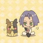 1boy chibi eating gen_8_pokemon green_eyes james_(pokemon) mojacookie morpeko pokemon pokemon_(anime) pokemon_(creature) sitting team_rocket yellow_background