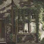 architecture bookshelf brick_wall daisen_(specialdaisen) dog door highres house lamp leaf no_humans original outdoors pixel_art sleeping window