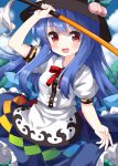1girl bangs black_headwear blue_dress blue_hair bow bush clouds dress eyebrows_visible_through_hair food fruit hair_between_eyes hand_up hat highres hinanawi_tenshi long_hair looking_at_viewer multicolored multicolored_clothes multicolored_dress open_mouth peach red_bow red_eyes red_neckwear ruu_(tksymkw) short_sleeves sky smile solo sword touhou weapon white_dress white_sleeves