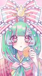 1girl bangs blunt_bangs blush butterfly_hair_ornament commentary_request frilled_ribbon frills front_ponytail green_hair hair_ornament hair_ribbon hand_up heart heart-shaped_pupils highres holding japanese_clothes kagiyama_hina kimono kyouda_suzuka long_hair long_sleeves looking_at_viewer pink_background pink_eyes red_kimono red_nails red_ribbon ribbon solo symbol-shaped_pupils touhou twitter_username upper_body wide_sleeves