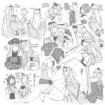 >_< 6+girls ahoge anger_vein ark_royal_(kancolle) bangs bismarck_(kancolle) blush bob_cut braid closed_eyes closed_mouth crossed_arms crown cup detached_sleeves dress english_text epaulettes flying_sweatdrops french_braid fur_trim globus_cruciger gloves greyscale hat headgear holding holding_cup janus_(kancolle) japanese_clothes jervis_(kancolle) kantai_collection kongou_(kancolle) long_hair long_sleeves military military_uniform mini_crown monochrome multiple_girls multiple_views nelson_(kancolle) nontraditional_miko off-shoulder_dress off_shoulder open_mouth peaked_cap ponytail sailor_collar sailor_dress sheffield_(kancolle) short_hair short_sleeves simple_background sleeveless sparkle sweat teacup thigh-highs tiara translation_request uniform warspite_(kancolle) weidashming