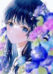 1girl bangs bare_shoulders blue_eyes blue_flowers blue_hair blurry blurry_foreground blush camisole closed_mouth drinkyog flower highres long_hair looking_at_viewer original purple_flower simple_background solo water_drop white_background white_camisole