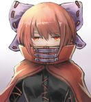 1girl aoiyamagi4 bow breasts cape covered_mouth hair_bow jitome looking_at_viewer medium_breasts red_cape red_eyes red_shirt redhead sekibanki shirt short_hair simple_background solo touhou upper_body white_background