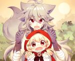 1boy 1girl :o ahoge alternate_costume animal_ears bandaged_arm bandages bangs big_bad_wolf_(grimm) big_bad_wolf_(grimm)_(cosplay) claw_pose clover cosplay eyebrows_visible_through_hair fangs four-leaf_clover genshin_impact gloves grey_gloves grey_hair hair_between_eyes hair_ornament hairpin highres kemonomimi_mode klee_(genshin_impact) light_brown_hair little_red_riding_hood little_red_riding_hood_(grimm) little_red_riding_hood_(grimm)_(cosplay) long_hair looking_at_viewer low_twintails miomawla orange_eyes razor_(genshin_impact) red_eyes red_hood scar scar_on_cheek scar_on_face sidelocks size_difference tail twintails wolf_ears wolf_tail