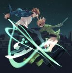 1boy 1girl axe bad_proportions black_pants blue_jacket boots brown_hair building city cityscape closed_mouth cube earmuffs foreshortening full_body glasses glowing glowing_weapon green_eyes highres holding holding_weapon jacket jin_yuuichi jumping knee_boots konami_kirie long_sleeves looking_at_another looking_to_the_side morita_yuu night night_sky pants shirt short_hair short_shorts shorts sky star_(sky) sword tinted_eyewear uniform weapon white_shirt world_trigger