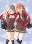 2girls ahoge artist_name bag beige_sweater black_legwear blue_background bow braid brown_coat buttons closed_mouth coat commentary_request cover_image double-breasted eyebrows_visible_through_hair feet_out_of_frame grey_hair grey_skirt hair_bow hands_up highres kneehighs laughing long_sleeves love_live! love_live!_sunshine!! multiple_girls open_mouth orange_hair pleated_skirt red_scarf sakurai_makoto_(custom_size) scarf school_bag shared_scarf short_hair shoulder_bag side_braid skirt smile snowflakes snowing takami_chika teeth upper_teeth watanabe_you yellow_bow