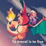 1girl bangs charizard closed_eyes clouds commentary_request english_text eyelashes fire from_below gen_1_pokemon hair_ornament hairclip harness hat highres holding how_long nidoran nidoran_(male) open_mouth outdoors pokemon pokemon_(anime) poketoon purple_legwear riding riding_pokemon shoes short_hair short_sleeves sky smile socks star_(sky) tongue tsubomi_(pokemon) twilight |d