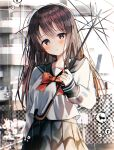 1girl blue_sailor_collar blue_skirt blurry blurry_background blush bow bowtie brown_hair building closed_mouth fence head_tilt highres holding holding_umbrella long_hair long_sleeves looking_at_viewer original outdoors pleated_skirt rain red_bow red_neckwear sailor_collar school_uniform serafuku shiori_(shiori_2_14) shirt skirt solo standing transparent transparent_umbrella umbrella uniform violet_eyes water_drop white_shirt
