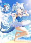 1girl ;d absurdres animal_ears bangs bare_arms bare_legs bare_shoulders barefoot beach bloop_(gawr_gura) blue_eyes blue_hair blue_swimsuit blunt_bangs breasts bubble cat_ears claw_pose clouds collarbone commentary_request day eyebrows_visible_through_hair fish_tail full_body gawr_gura hands_up highres hololive hololive_english huge_filesize innertube jumping kaku_(walletbreaker) long_hair looking_at_viewer mascot multicolored_hair nail_polish ocean one-piece_swimsuit one_eye_closed open_mouth outdoors purple_nails shark_tail sharp_teeth side_ponytail silver_hair sky small_breasts smile solo streaked_hair swimsuit tail teeth water