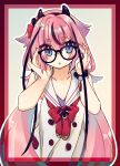 1other adjusting_eyewear bare_shoulders bespectacled blue_eyes collar collarbone commentary framed glasses gynoid_talk hair_flaps hairband highres horns ishitsuki_(_0101_831) japanese_clothes long_hair looking_at_viewer meika_hime neck_ribbon pink_hair red_neckwear ribbon sailor_collar shirt sleeveless solo symbol_commentary twintails upper_body very_long_hair vocaloid white_collar white_shirt