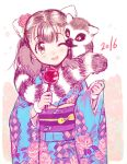 1girl :d amezawa_koma animal_ears blue_kimono blush copyright_request dated flower hair_flower hair_ornament hands_up holding japanese_clothes kimono lemur obi one_eye_closed open_mouth pink_flower pink_rose rose sash smile solo standing wide_sleeves yellow_eyes