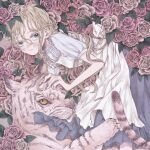 1girl blue_eyes blush colored_sclera dress feet_out_of_frame flower highres leaf looking_at_viewer momo_walnut original pink_flower pink_rose rose short_sleeves solo tiger white_dress white_tiger yellow_sclera