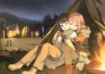 3girls alternate_hair_length alternate_hairstyle backpack bag blue_hair boots brazier camping candle closed_eyes coat commentary cross-laced_footwear crossed_arms cup dishes glasses grass happy hotaru_iori hug hug_from_behind jacket kagamihara_nadeshiko kagamihara_sakura lace-up_boots lamp light_blush medium_hair mountainous_horizon mug multiple_girls night night_sky one_eye_closed open_mouth outdoors pants pink_hair plate poncho purple_hair shima_rin siblings sisters sitting sky smile star_(sky) starry_sky sweater table tablecloth tent thermos tree violet_eyes winter_clothes yuri yurucamp