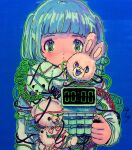 1girl bangs blue_background blue_hair blunt_bangs blush green_eyes green_outline hand_up highres long_hair looking_at_viewer original outline simple_background solo stuffed_animal stuffed_bunny stuffed_dog stuffed_toy teddy_bear toyux2 wire