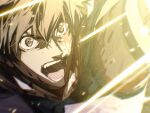1boy arash_(fate) black_hair blood blood_on_face close-up dark-skinned_male dark_skin fate/grand_order fate/prototype fate/prototype:_fragments_of_blue_and_silver fate_(series) glowing highres injury male_focus mosako open_mouth shouting solo