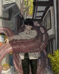 1boy alley black_eyes black_hair black_pants black_shirt chainsaw_man collarbone jacket long_sleeves looking_at_viewer male_focus mole mole_under_mouth pachiccc pants shirt short_hair sitting smile solo suction_cups tentacles white_jacket yoshida_hirofumi