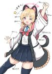 >_o 1girl ;d absurdres animal_ears arm_up arrow_(symbol) black_legwear black_skirt blonde_hair blue_archive blue_neckwear blush bow cat_ear_headphones cat_ears cat_tail clenched_hand collared_shirt fake_animal_ears frilled_jacket frilled_skirt frills hair_bow halo headphones highres jacket long_sleeves momoi_(blue_archive) moyoron necktie off_shoulder one_eye_closed open_clothes open_jacket open_mouth pink_eyes pleated_skirt red_bow shirt short_necktie simple_background skirt smile solo star_(symbol) tail thigh-highs translation_request white_background white_jacket white_shirt wide_sleeves
