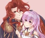 1boy 1girl alvis_(fire_emblem) armor bangs blush cape closed_mouth clothing_cutout father_and_daughter fire_emblem fire_emblem:_genealogy_of_the_holy_war highres ikuradon_tabeti julia_(fire_emblem) long_hair looking_at_another purple_hair red_eyes redhead shoulder_armor shoulder_cutout simple_background