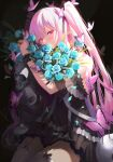 1girl absurdres bangs black_dress blue_flower blue_rose bouquet bug butterfly cherrymaru covered_mouth dress eyebrows flower half-closed_eyes highres holding holding_bouquet hololive insect long_hair off-shoulder_dress off_shoulder pink_butterfly pink_eyes pink_hair rose skull solo thigh-highs two_side_up uruha_rushia virtual_youtuber