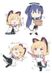 2girls :t absurdres animal_ears bangs black_footwear black_jacket black_legwear black_skirt blue_archive blue_hair blue_neckwear blush_stickers bow box cat_ear_headphones cat_ears chibi closed_mouth eyebrows_visible_through_hair fake_animal_ears flying_sweatdrops gun hair_bow halo headphones highres holding holding_box holding_gun holding_weapon jacket long_hair long_sleeves lying momoi_(blue_archive) moyoron multiple_girls multiple_views necktie off_shoulder on_back open_clothes open_jacket pleated_skirt pout red_bow shoes short_necktie simple_background skirt suspender_skirt suspenders thigh-highs translation_request two_side_up v-shaped_eyebrows very_long_hair weapon weapon_request white_background yuuka_(blue_archive)
