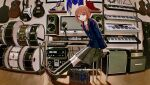 1girl absurdres acoustic_guitar amplifier_(instrument) bag bass_guitar blazer boots braid collared_shirt commentary_request computer drum electric_guitar guitar guitar_case highres instrument instrument_case jacket kaf kamitsubaki_studio keyboard_(computer) keyboard_(instrument) kneehighs loafers long_hair looking_at_viewer low_twin_braids microphone mixing_console monitor multicolored multicolored_eyes naluse_flow neck_ribbon parted_lips pink_hair plaid plaid_skirt red_ribbon ribbon school_bag school_uniform shirt shoes sitting skirt snare_drum solo speaker triangle_(instrument) twin_braids violin virtual_youtuber yellow_pupils