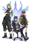 3girls absurdres arknights armor bare_arms black_footwear black_gloves black_headwear black_jacket black_pants blue_hair blue_jacket blue_shorts boots breastplate ch'en_(arknights) chair clay_(clayjun) closed_mouth clothes_around_waist collared_shirt commentary_request crossed_arms dragon_horns fingerless_gloves full_body gloves green_eyes green_hair hat high_heel_boots high_heels highres holding_walkie-talkie horns hoshiguma_(arknights) jacket jacket_around_waist long_hair looking_at_viewer multiple_girls necktie office_chair oni_horns open_clothes open_jacket orange_hair pants red_eyes shirt shorts single_horn sitting swire_(arknights) thigh-highs thigh_boots thigh_strap twintails v-shaped_eyebrows walkie-talkie white_background white_shirt yellow_neckwear